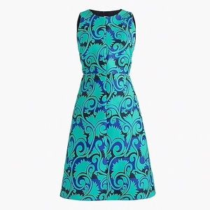 J. Crew Vineyard Jacquard A-Line Dress Navy Green